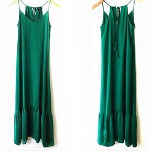 J. Crew green Dress Ruffle Hem Tassel Ties XXS